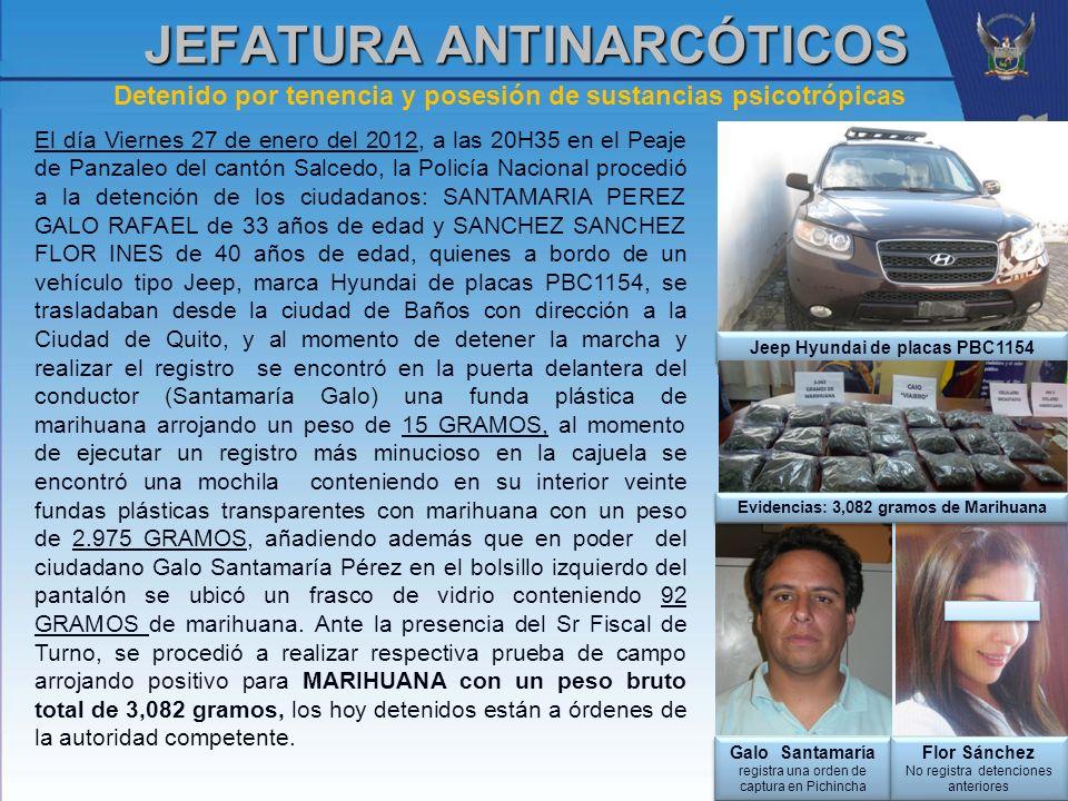 Detenido por tenencia y posesión de sustancias psicotrópicas JEFATURA ANTINARCÓTICOS El día Viernes 27 de enero del 2012, a las 20H35 en el Peaje de P
