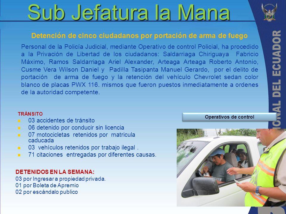 Sub Jefatura la Mana TRÁNSITO 03 accidentes de tránsito 06 detenido por conducir sin licencia 07 motocicletas retenidos por matricula caducada 03 vehí
