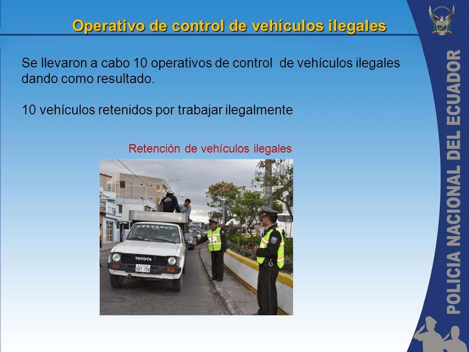 Operativo de control de vehículos ilegales Se llevaron a cabo 10 operativos de control de vehículos ilegales dando como resultado. 10 vehículos reteni