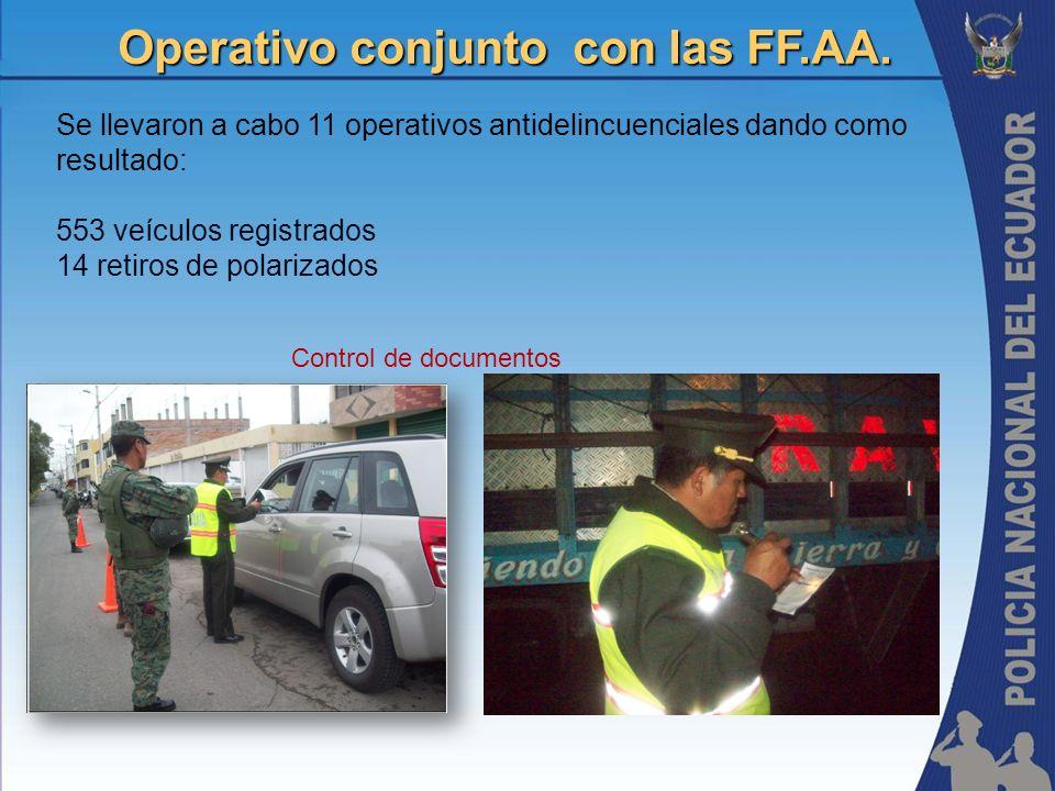 Operativo conjunto con las FF.AA. Se llevaron a cabo 11 operativos antidelincuenciales dando como resultado: 553 veículos registrados 14 retiros de po