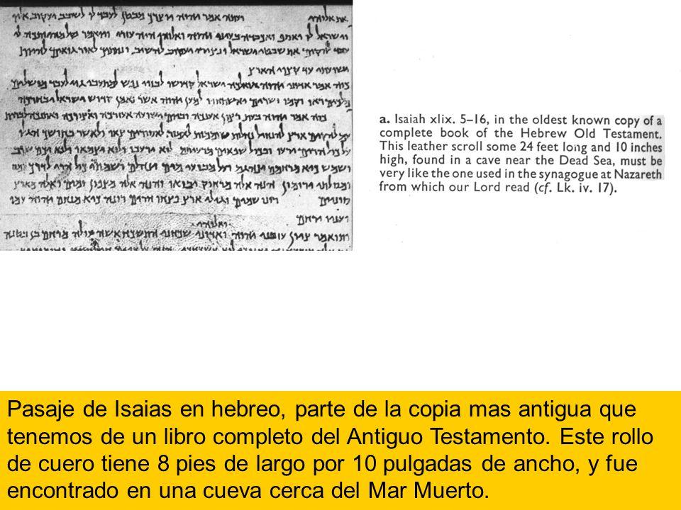 Pasaje de Isaias en hebreo, parte de la copia mas antigua que tenemos de un libro completo del Antiguo Testamento. Este rollo de cuero tiene 8 pies de