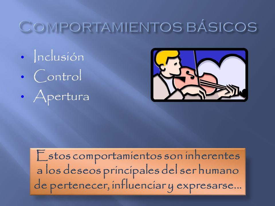 Inclusión Control Apertura Estos comportamientos son inherentes a los deseos principales del ser humano de pertenecer, influenciar y expresarse...