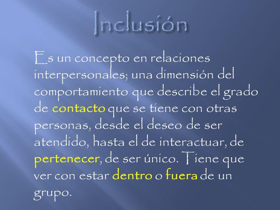 Es un concepto en relaciones interpersonales; una dimensión del comportamiento que describe el grado de contacto que se tiene con otras personas, desd