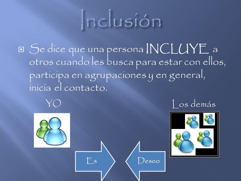 Se dice que una persona es INCLUIDA cuando otros le buscan, le llaman para que participe en actividades con ellos y en general, toman la iniciativa de establecer contacto con ella.