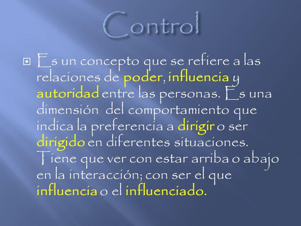Es un concepto que se refiere a las relaciones de poder, influencia y autoridad entre las personas. Es una dimensión del comportamiento que indica la