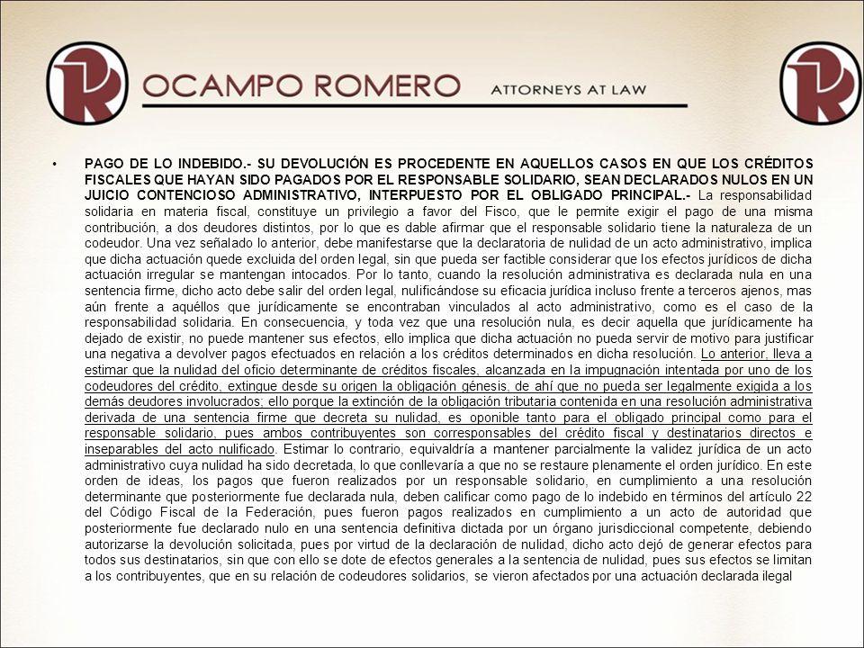 LEY FEDERAL DE PROCEDIMIENTO CONTENCIOSO ADMINISTRATIVO VII-P-2aS-202 DERECHO SUBJETIVO A LA DEVOLUCIÓN.