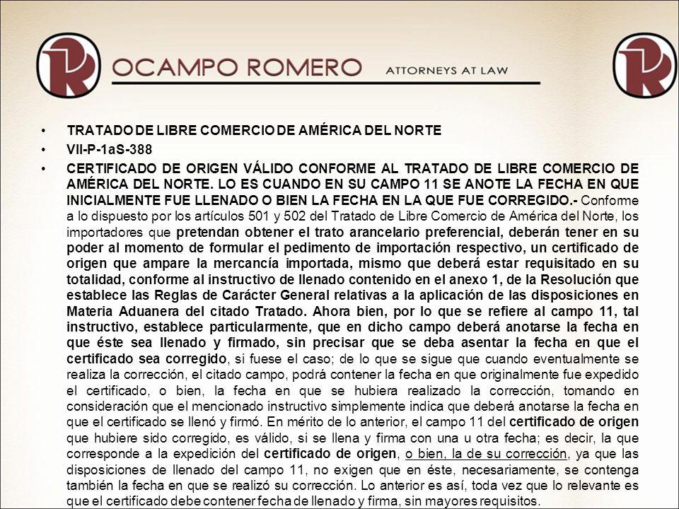 COMERCIO EXTERIOR VII-P-1aS-387 CERTIFICADO DE ORIGEN, ES VÁLIDO AUN CUANDO LA FACTURA Y EL PEDIMENTO DE IMPORTACIÓN CONTENGAN ABREVIATURAS EN EL NOMBRE DEL EXPORTADOR.- De conformidad con los artículos 7-02 y 7-03 del Tratado de Libre Comercio celebrado entre los Estados Unidos Mexicanos, la República de Colombia y la República de Venezuela, así como de las Reglas 1 fracción IV, 5, 9 y 11 de la Resolución que establece las Reglas de carácter general relativas a la aplicación de las disposiciones en materia aduanera, el importador que solicite el otorgamiento de un trato arancelario preferencial, deberá exhibir un certificado de origen válido requisitado en términos del Instructivo de llenado del certificado de origen, debiendo proporcionar, entre otros datos, los relativos al campo 1, consistentes en el nombre completo, denominación o razón social, domicilio (incluyendo ciudad y país), número de teléfono, fax y el número de registro fiscal del exportador.