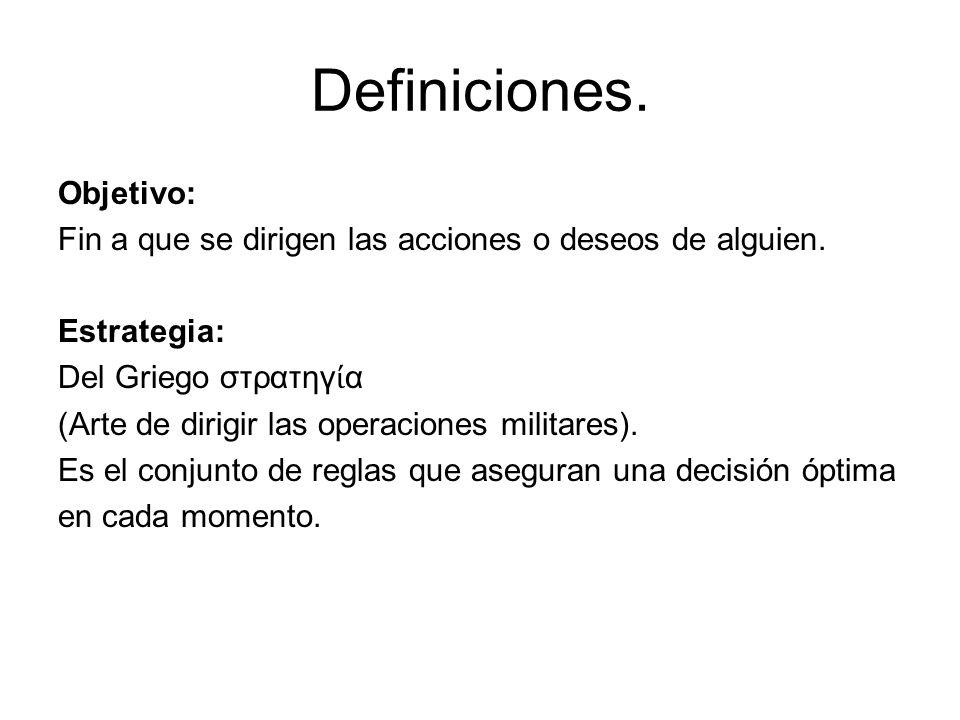 Definiciones. Objetivo: Fin a que se dirigen las acciones o deseos de alguien.