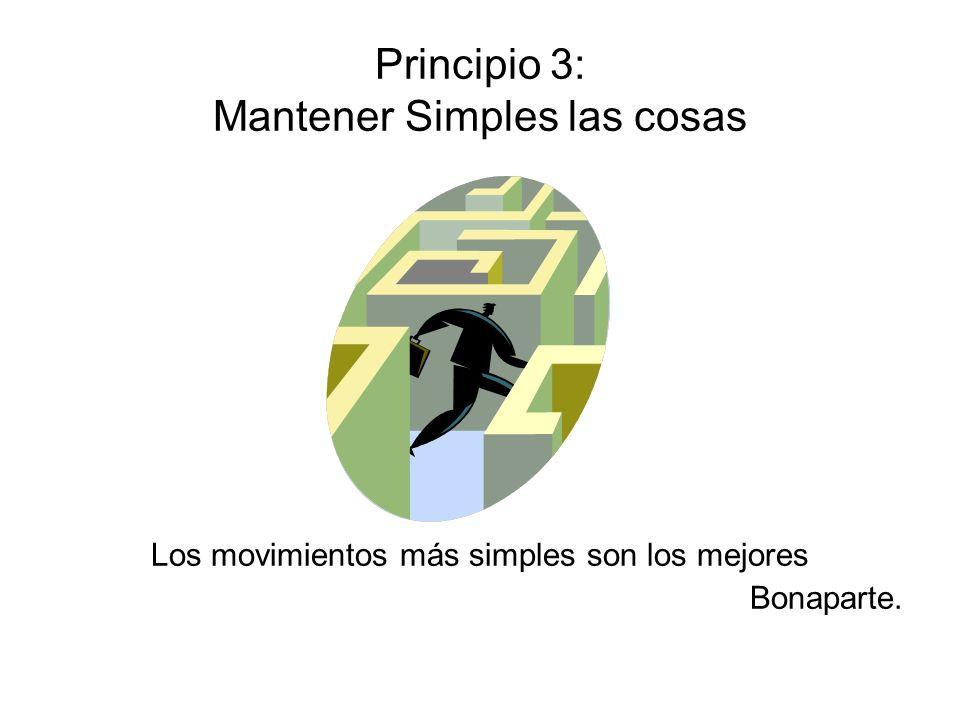 Principio 3: Mantener Simples las cosas Los movimientos más simples son los mejores Bonaparte.