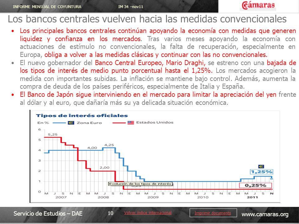 INFORME MENSUAL DE COYUNTURA IM 34 –nov11 Servicio de Estudios – DAE www.camaras.org 10 Imprimir documento Los bancos centrales vuelven hacia las medi