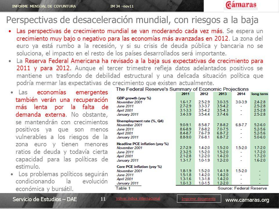 INFORME MENSUAL DE COYUNTURA IM 34 –nov11 Servicio de Estudios – DAE www.camaras.org 11 Imprimir documento Perspectivas de desaceleración mundial, con