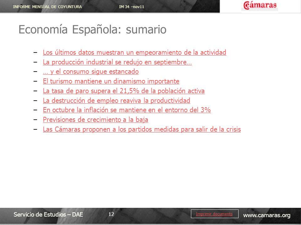 INFORME MENSUAL DE COYUNTURA IM 34 –nov11 Servicio de Estudios – DAE www.camaras.org 12 Imprimir documento Economía Española: sumario –Los últimos dat