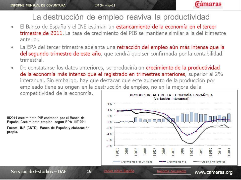INFORME MENSUAL DE COYUNTURA IM 34 –nov11 Servicio de Estudios – DAE www.camaras.org 18 Imprimir documento El Banco de España y el INE estiman un esta