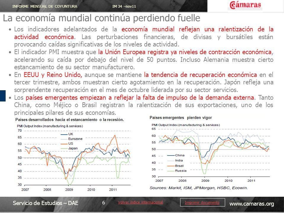 INFORME MENSUAL DE COYUNTURA IM 34 –nov11 Servicio de Estudios – DAE www.camaras.org 6 Imprimir documento La economía mundial continúa perdiendo fuell