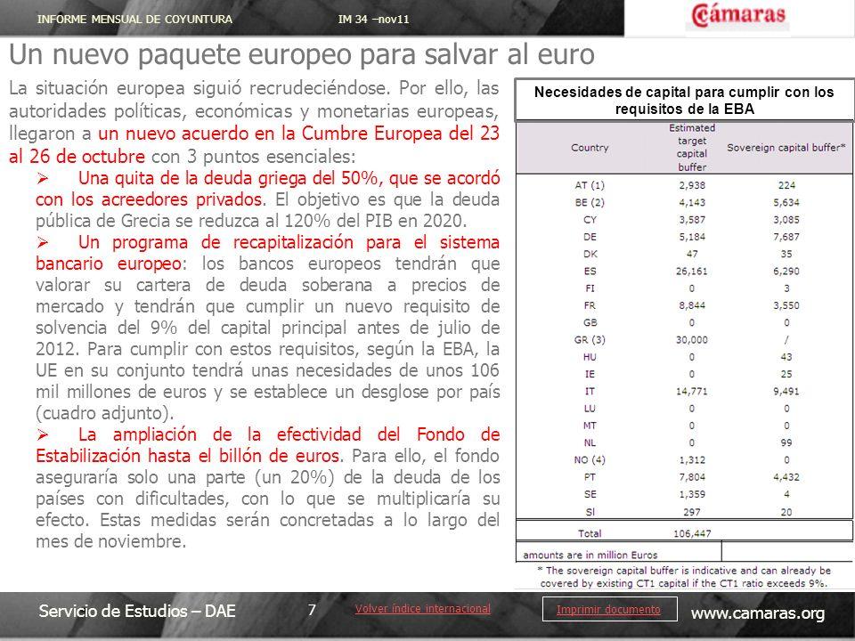 INFORME MENSUAL DE COYUNTURA IM 34 –nov11 Servicio de Estudios – DAE www.camaras.org 7 Imprimir documento Un nuevo paquete europeo para salvar al euro