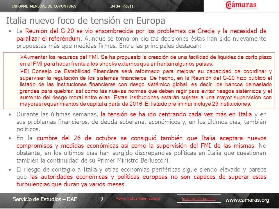 INFORME MENSUAL DE COYUNTURA IM 34 –nov11 Servicio de Estudios – DAE www.camaras.org 20 Imprimir documento La comisión Europea actualiza a la baja las previsiones de crecimiento para España.