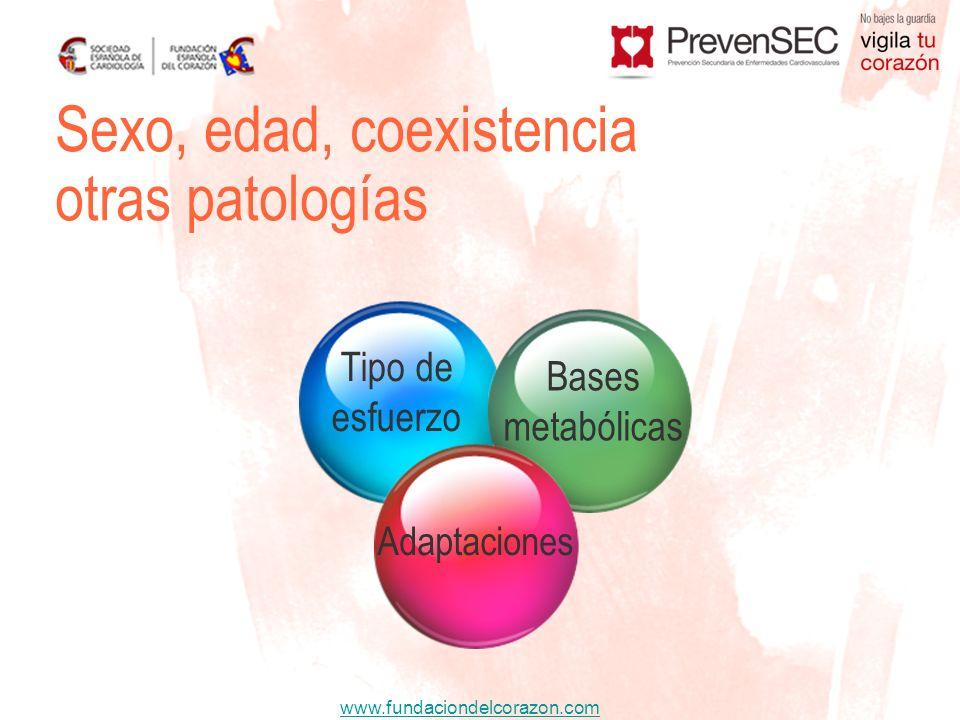 www.fundaciondelcorazon.com Sexo, edad, coexistencia otras patologías Adaptaciones Bases metabólicas Tipo de esfuerzo