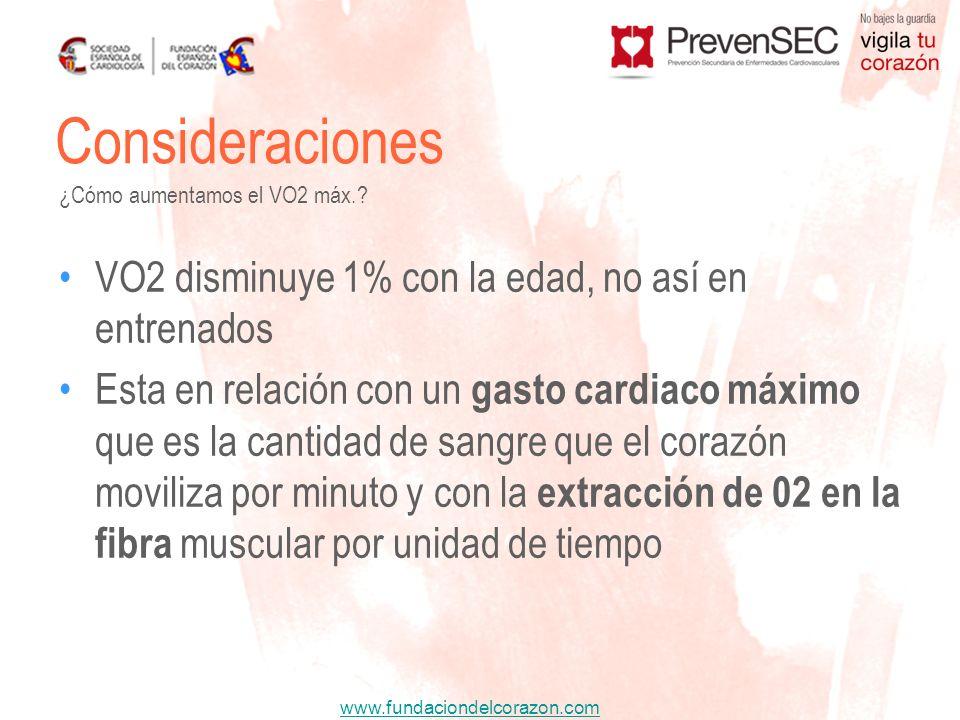 www.fundaciondelcorazon.com VO2 disminuye 1% con la edad, no así en entrenados Esta en relación con un gasto cardiaco máximo que es la cantidad de san