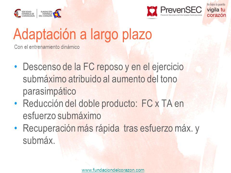 www.fundaciondelcorazon.com Descenso de la FC reposo y en el ejercicio submáximo atribuido al aumento del tono parasimpático Reducción del doble produ