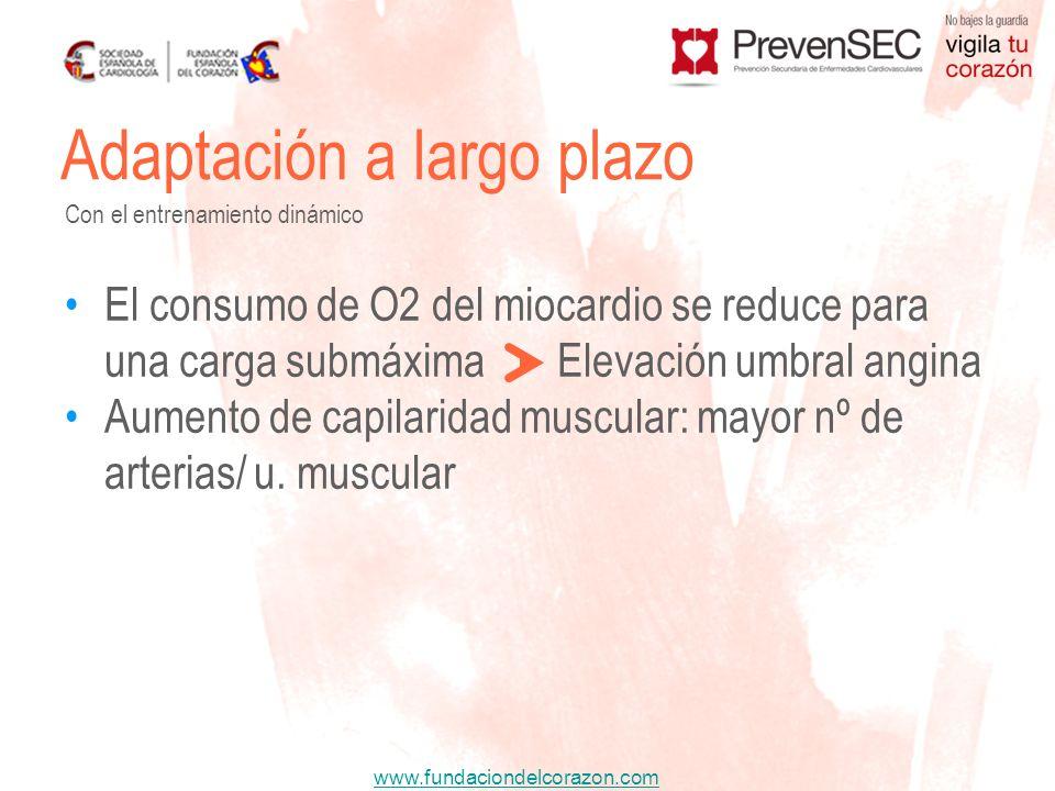 www.fundaciondelcorazon.com El consumo de O2 del miocardio se reduce para una carga submáxima Elevación umbral angina Aumento de capilaridad muscular: