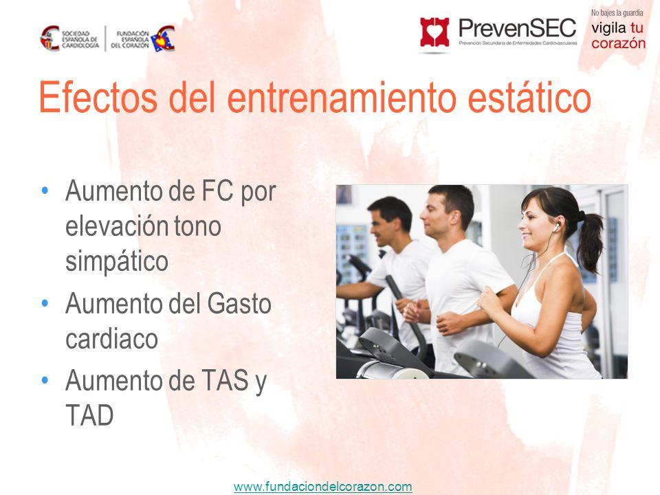 www.fundaciondelcorazon.com Aumento de FC por elevación tono simpático Aumento del Gasto cardiaco Aumento de TAS y TAD Efectos del entrenamiento estát