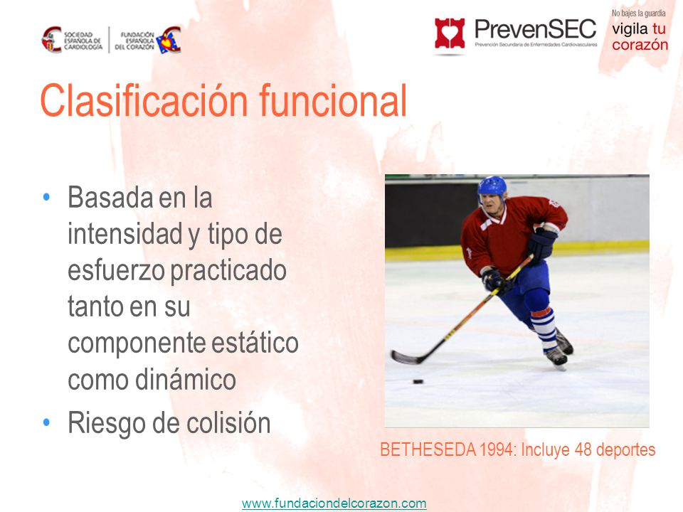 www.fundaciondelcorazon.com Basada en la intensidad y tipo de esfuerzo practicado tanto en su componente estático como dinámico Riesgo de colisión Cla