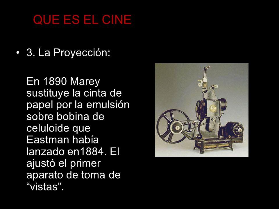 QUE ES EL CINE 3. La Proyección: En 1890 Marey sustituye la cinta de papel por la emulsión sobre bobina de celuloide que Eastman había lanzado en1884.