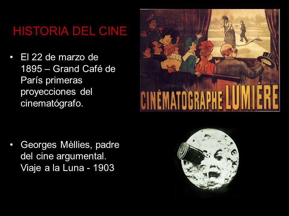 HISTORIA DEL CINE El 22 de marzo de 1895 – Grand Café de París primeras proyecciones del cinematógrafo. Georges Mèllies, padre del cine argumental. Vi