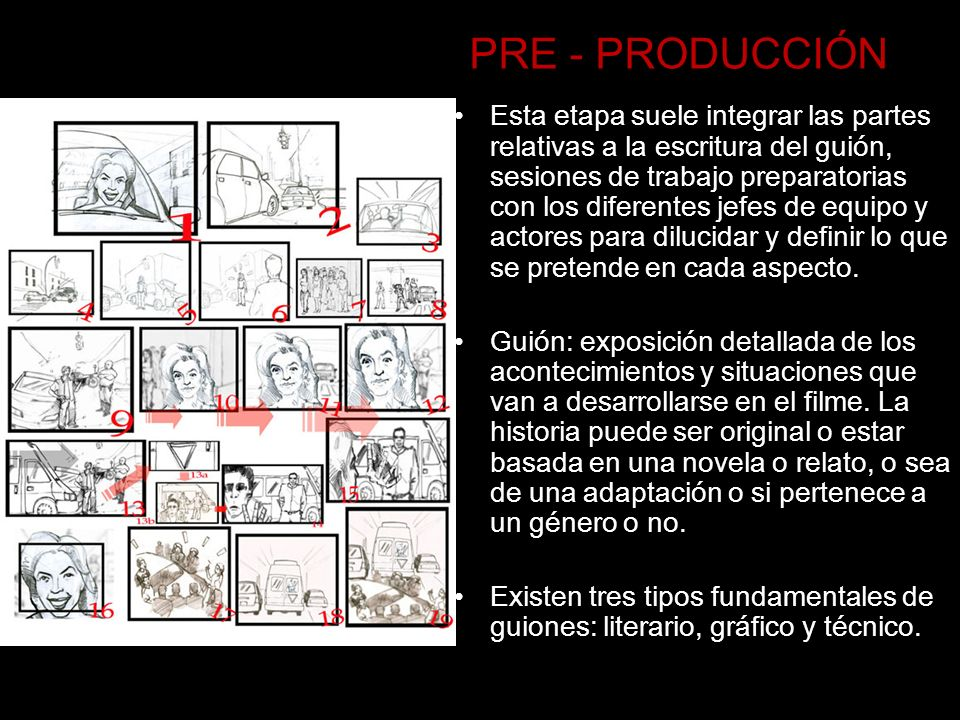 PRE - PRODUCCIÓN Esta etapa suele integrar las partes relativas a la escritura del guión, sesiones de trabajo preparatorias con los diferentes jefes d