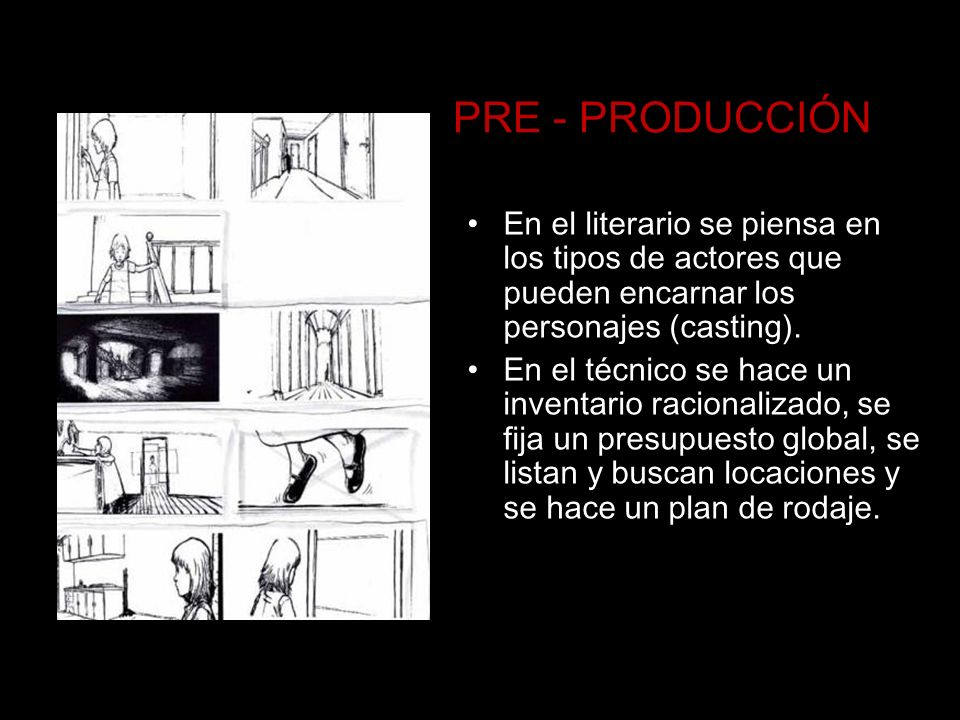PRE - PRODUCCIÓN En el literario se piensa en los tipos de actores que pueden encarnar los personajes (casting). En el técnico se hace un inventario r