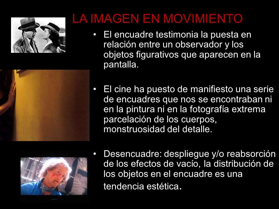 LA IMAGEN EN MOVIMIENTO El encuadre testimonia la puesta en relación entre un observador y los objetos figurativos que aparecen en la pantalla. El cin