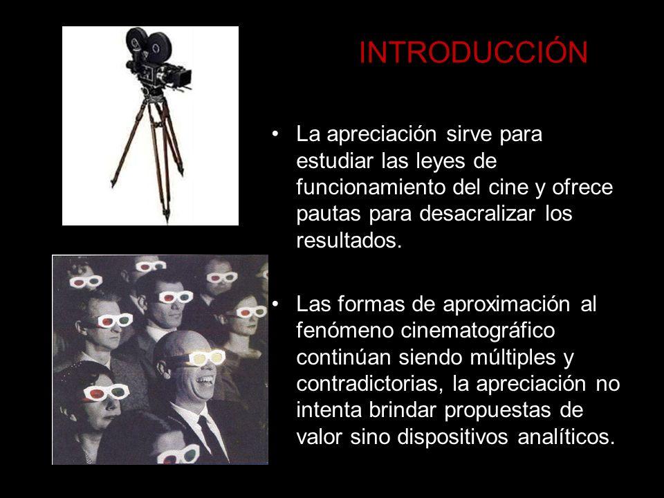 INTRODUCCIÓN La apreciación sirve para estudiar las leyes de funcionamiento del cine y ofrece pautas para desacralizar los resultados. Las formas de a