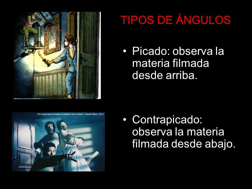 TIPOS DE ÁNGULOS Picado: observa la materia filmada desde arriba. Contrapicado: observa la materia filmada desde abajo.