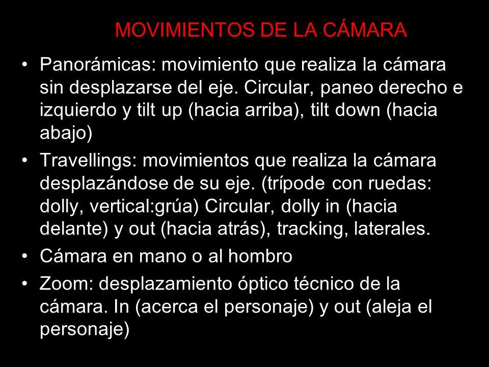 MOVIMIENTOS DE LA CÁMARA Panorámicas: movimiento que realiza la cámara sin desplazarse del eje. Circular, paneo derecho e izquierdo y tilt up (hacia a