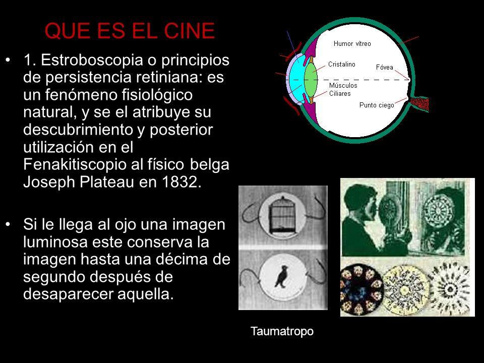 QUE ES EL CINE 1. Estroboscopia o principios de persistencia retiniana: es un fenómeno fisiológico natural, y se el atribuye su descubrimiento y poste