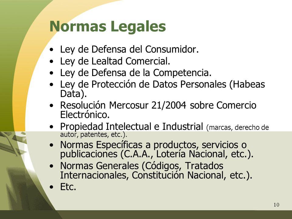 10 Normas Legales Ley de Defensa del Consumidor. Ley de Lealtad Comercial. Ley de Defensa de la Competencia. Ley de Protección de Datos Personales (Ha