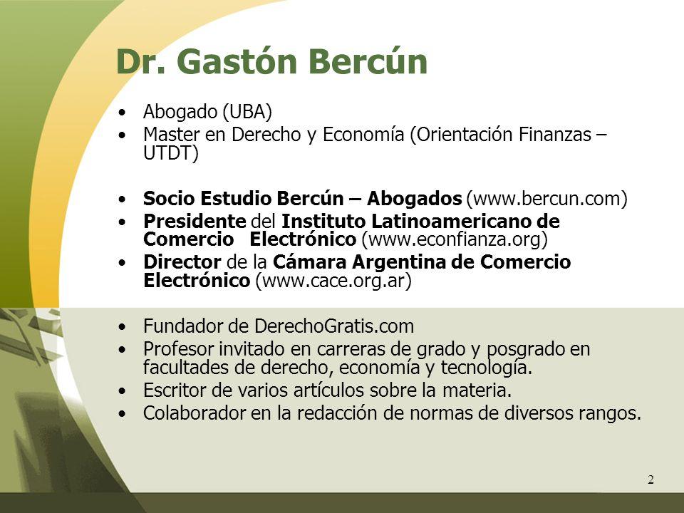 2 Abogado (UBA) Master en Derecho y Economía (Orientación Finanzas – UTDT) Socio Estudio Bercún – Abogados (www.bercun.com) Presidente del Instituto L