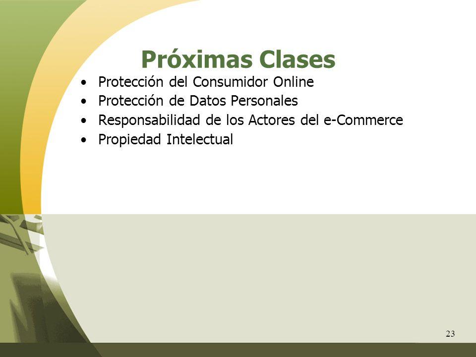 23 Próximas Clases Protección del Consumidor Online Protección de Datos Personales Responsabilidad de los Actores del e-Commerce Propiedad Intelectual