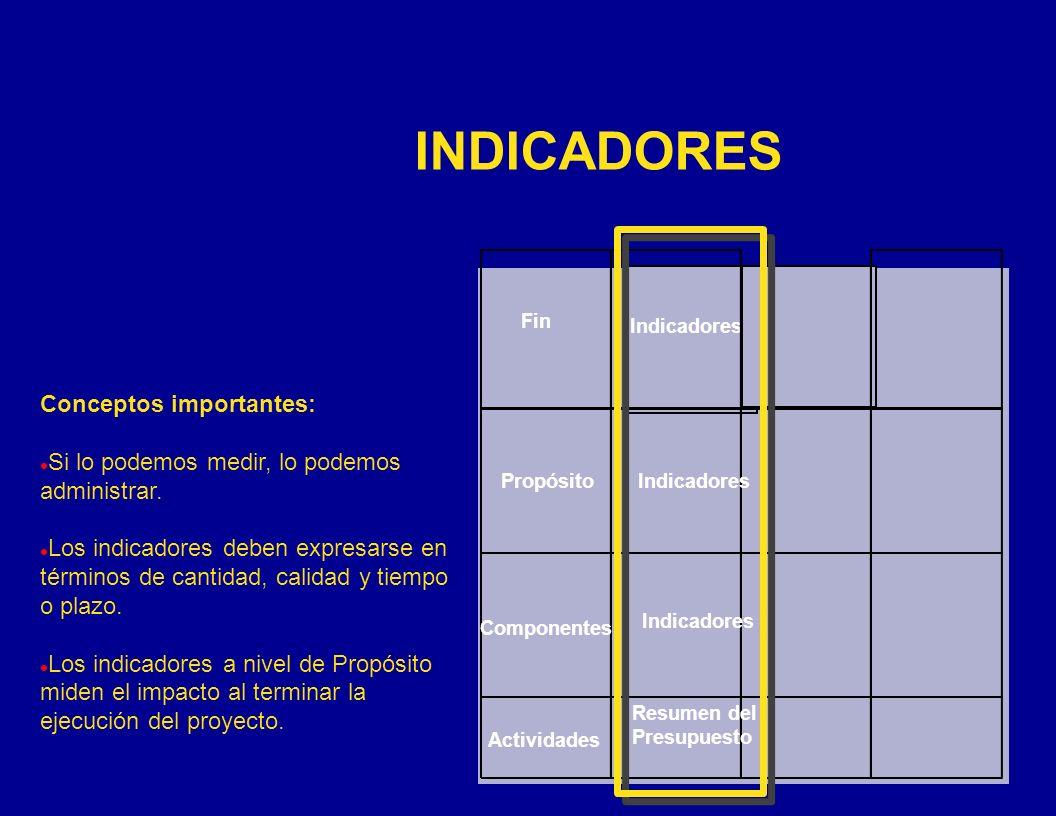 INDICADORES Conceptos importantes: l Si lo podemos medir, lo podemos administrar. l Los indicadores deben expresarse en términos de cantidad, calidad