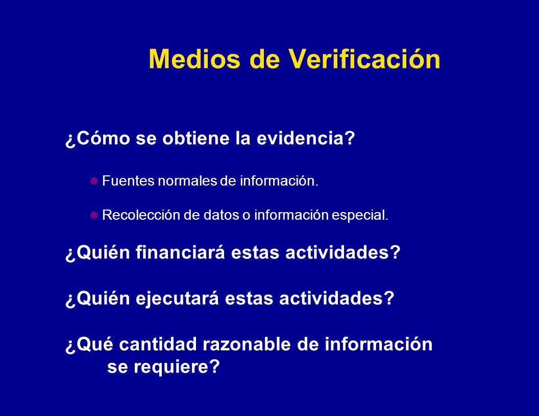 Medios de Verificación ¿Cómo se obtiene la evidencia? Fuentes normales de información. Recolección de datos o información especial. ¿Quién financiará
