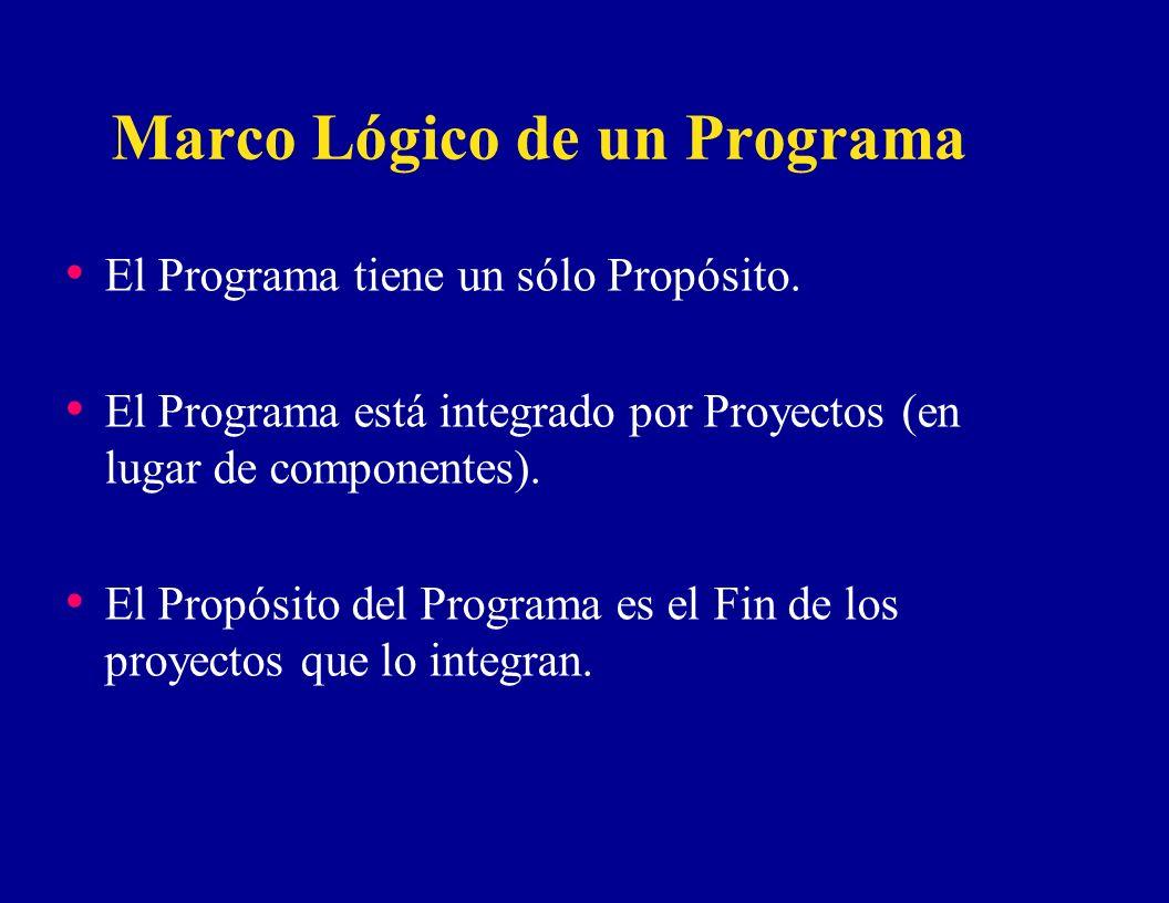 Marco Lógico de un Programa El Programa tiene un sólo Propósito. El Programa está integrado por Proyectos (en lugar de componentes). El Propósito del