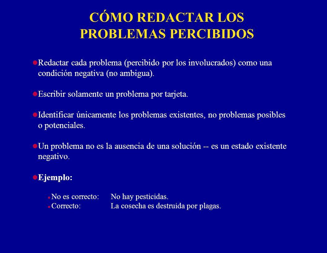 CÓMO REDACTAR LOS PROBLEMAS PERCIBIDOS l Redactar cada problema (percibido por los involucrados) como una condición negativa (no ambigua). l Escribir