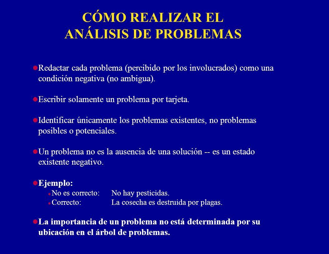 CÓMO REALIZAR EL ANÁLISIS DE PROBLEMAS l Redactar cada problema (percibido por los involucrados) como una condición negativa (no ambigua). l Escribir
