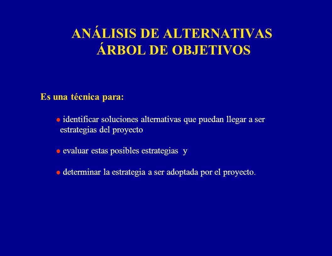 ANÁLISIS DE ALTERNATIVAS ÁRBOL DE OBJETIVOS Es una técnica para: l identificar soluciones alternativas que puedan llegar a ser estrategias del proyect