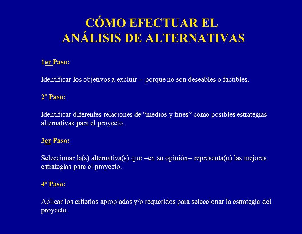 CÓMO EFECTUAR EL ANÁLISIS DE ALTERNATIVAS 1er Paso: Identificar los objetivos a excluir -- porque no son deseables o factibles. 2º Paso: Identificar d