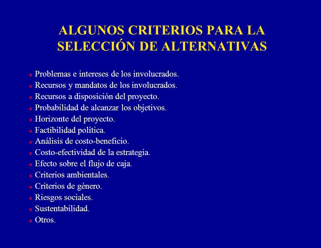 ALGUNOS CRITERIOS PARA LA SELECCIÓN DE ALTERNATIVAS n Problemas e intereses de los involucrados. n Recursos y mandatos de los involucrados. n Recursos