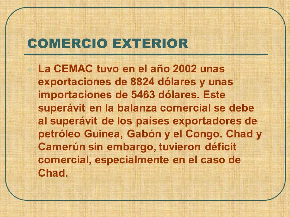 COMERCIO EXTERIOR La CEMAC tuvo en el año 2002 unas exportaciones de 8824 dólares y unas importaciones de 5463 dólares. Este superávit en la balanza c