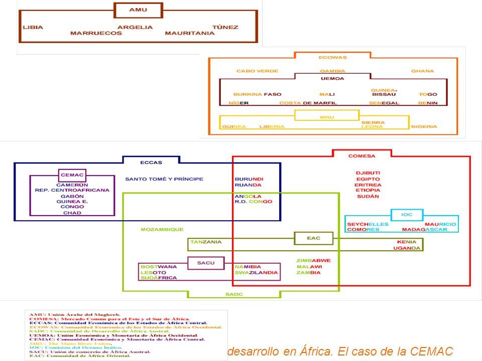 EL CASO DE CEMAC UDE (1959) UDEAC(1964) CEMAC(1994) OBJETIVO: establecer las condiciones necesarias para que se produzca un desarrollo económico armonizado dentro de un marco de apertura y de un marco jurídico apropiado.