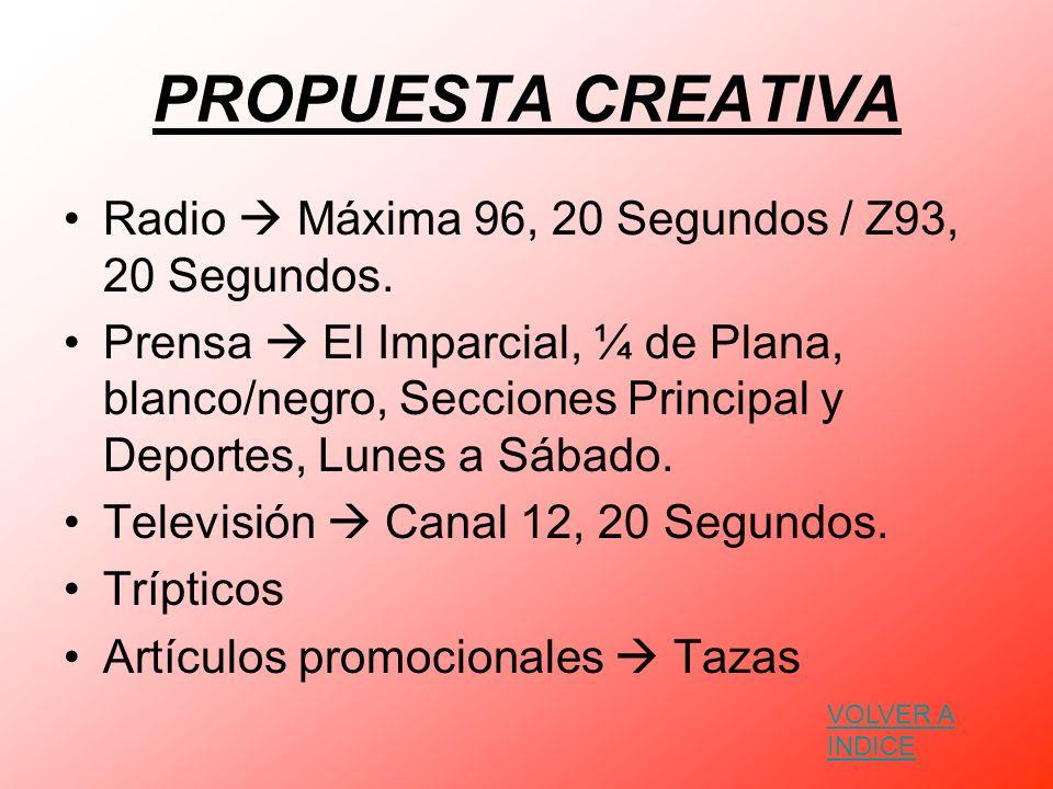 BOCETACIÓN Artículos Promocionales Prensa Radio Televisión VOLVER A INDICE