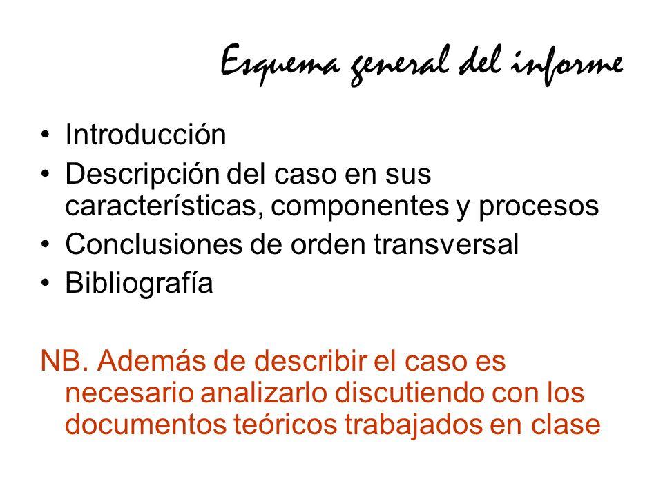 Esquema general del informe Introducción Descripción del caso en sus características, componentes y procesos Conclusiones de orden transversal Bibliografía NB.